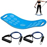 Canway Balance Fit Board with Resistance Tubes, Fitness Board-Exercise Balance Stability Trainer, Non-Slip Safety for Physical Therapy, Tone Muscles, Strengthen Core&Injury Rehab, Yoga Twist Board
