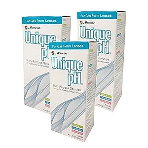 Menicon Unique pH Multi-Purpose Solution + RGP Lens Case. THREE 4 fl oz (120ml) bottles