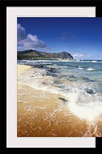 GreatBIGCanvas ''Hawaii, Kauai, Poipu, Shipwrecks Beach, White Sands, Shoreline Water'' by Joe Carini Photographic Print with Black Frame, 24'' x 36'' by greatBIGcanvas