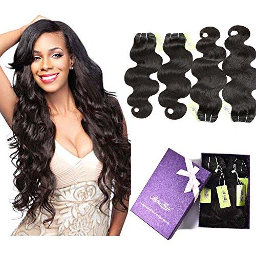 - Indian Body Wave Hair 4 Bundles, Re4U Virgin Human Hair Bundles Unprocessed Tangle Free Weave Extensions Double Weft (Natural Color 12
