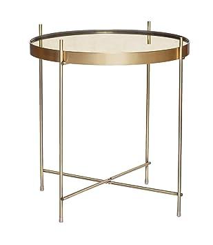 Hübsch Table Basse Ronde Métal Doré Laiton Miroir Hübsch Amazon