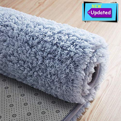 Area Rug Light Grey Modern Shaggy Carpet for Baby Room Living Room Bedroom (Wool & Wool Blend, 47