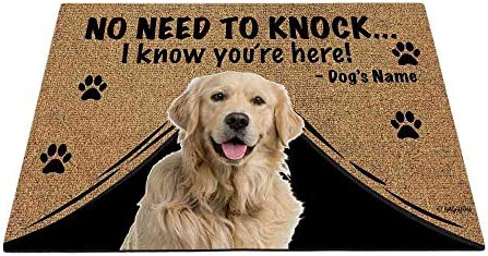 BAGEYOU Personalized Dog s Name Outdoor Doormat with My Love Dog Golden Retriever Welcome Floor Mat Not Need to Knock I Know You re Here 35.4 x 23.6