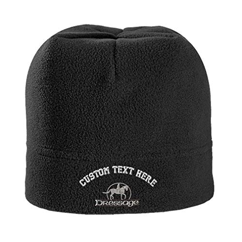 ede4a4657f9 Custom Text Embroidered Dressage Unisex Adult Polyester Spandex Stretch  Fleece Beanie Skully Hat - Black