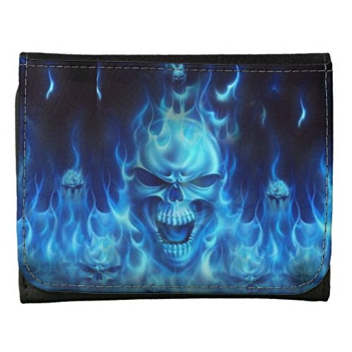 YEX Men's Blue Skull with Flames Black Leather Wallet Stylish Size M