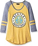 NBA Denver Nuggets Adult Women Ladies Tri Blend Jersey 3/4 sleeve with sleeve stripes,S,Tri Natural Gold