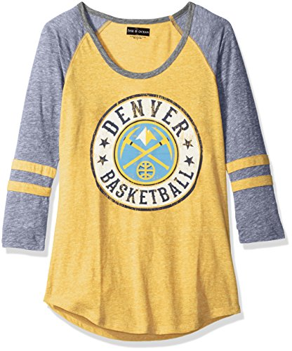 fan products of NBA Denver Nuggets Adult Women Ladies Tri Blend Jersey 3/4 sleeve with sleeve stripes,M,Tri Natural Gold