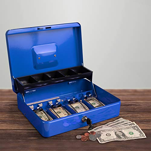 Stalwart Cash Box - Locking Steel Petty Cash Safe with Coin Tray and Spring-Loaded Money Clips for Yard Sale, Market and Concession Stand (Blue) ()
