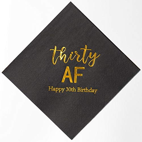 30th Birthday Decorations For Her - Crisky 30th Birthday Napkins Black Gold
