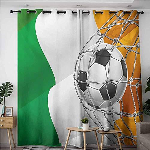 Window Curtain,Irish Sports Theme Soccer Ball in a