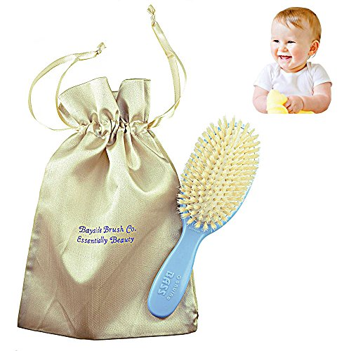 Bass Natural Satin - Bass BS26 Baby Hair Brush,100% Pure Soft White Natural Bristles and Gold Satin Brush Travel Bag. For Newborns Infants and Toddlers with Fine Hair. Detangle Hair, Massage and Stimulate the Scalp (Blue)