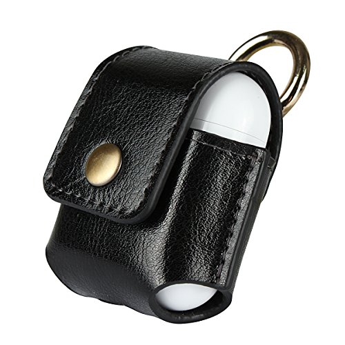 Leather AirPods Case, JellyBlue Genuine Leather Snap Closure Protective Cover, Little Natural Cowhide AirPods Pouch with Hook, Endurable Shockproof, Easy to Sync and Charging for Apple AirPods, Black
