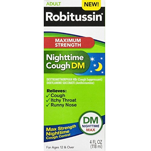 Robitussin Nighttime Cough DM Adult Maximum Strength 4 oz. (Pack of 3) ()