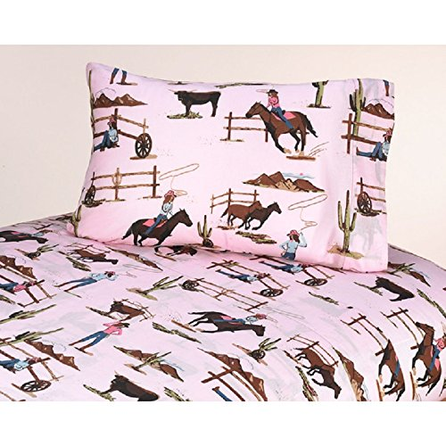 4 Piece Wild Western Flair Cowgirls Patterned Sheet Set Queen Size, Featuring Graphic Human Playful Horse Bulls Mountains Cactus Bedding, Artistic Modern Design, West County Style Girls Bedroom, - West Stores County