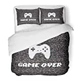 Emvency Bedding Duvet Cover Set Twin (1 Duvet Cover + 1 Pillowcase) Colorful 80S Text Game Over On Glitch Screen of Analog Tv with Gameplay Abstract Bad Hotel Quality Wrinkle and Stain Resistant