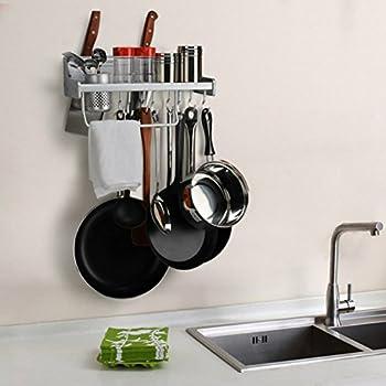 Kitchen Wall Pot Pan Rack, Plumeet 5 In 1 Wall Mounted Hanging Kitchen  Organizer With