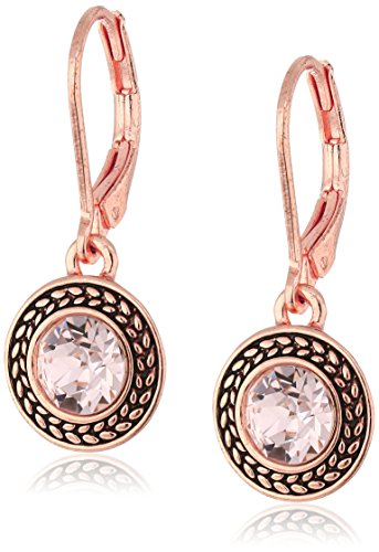 (Napier Rose Gold-Tone and Silk Swarovski Crystal Drop Earrings)