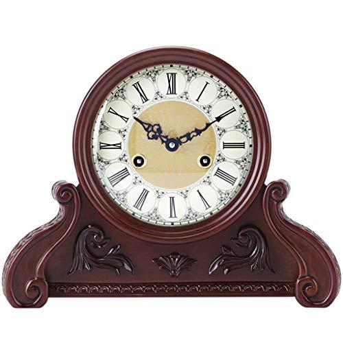 (ZGP % Table Clock Living Room Decor Vintage Desk Clock Non Ticking Alarm Clocks Mechanical Movement European Retro Roman Numerals Wood Classic Clock)
