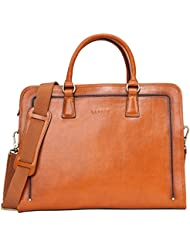 Banuce Womens Full Grains Leather Briefcase Messenger Satchel Bag 14 Laptop Case