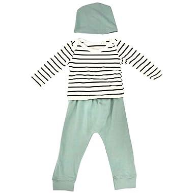 e42b33c9bb20 Amazon.com  Baby Girl Boy Pyjamas Striped T-Shirt Tops Pants Hat ...