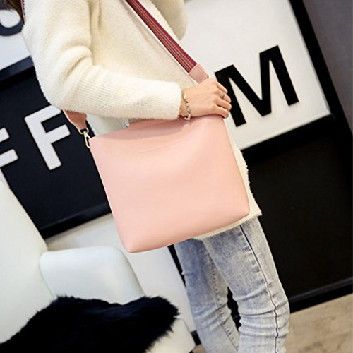 Handle Shoulder Pink Single Messenger Mengonee Leather Set Pouch Bag PU Composite with Purse Girls Metal Bag Women Strap Color Shoulder Bag Wallet rq1wr06