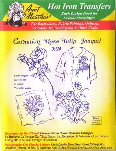 Carnation Rose Tulip #3924 Aunt Martha/'s Hot Iron Embroidery Transfer Pattern