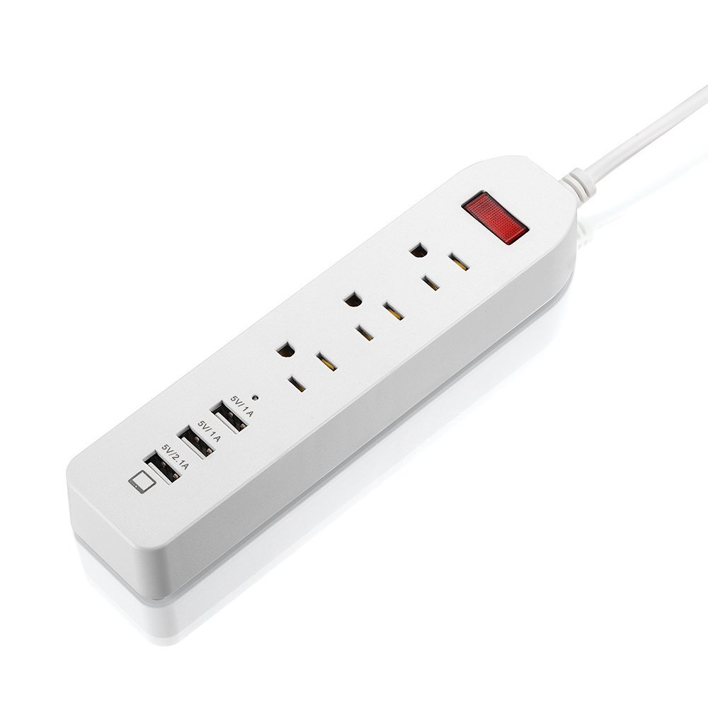 Power Strip, Firstbuy 3-Outlet Power Strip Home/Office/Travel Mini Surge Protector with 3-USB Charging Ports Power Adapter 1250W/10A for iPhone, iPad, Samsung, HTC, LG, Tablets and More- 6ft Cord