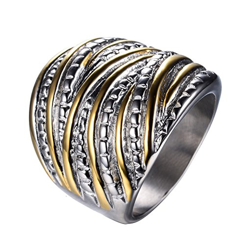 White Without Stones Ring (JunXin White Yellow Gold Plated Interterwined Design Stainless Steel Ring Wide Band Without Stones Size6/7/8/9/10)