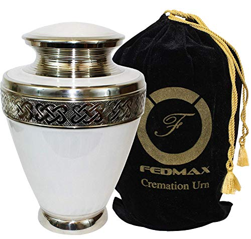 (Cremation Urn for Ashes, for Adults up to 200lbs, White Funeral Burial Urns Made from Brass w/Satin Bag for Human Ashes.)