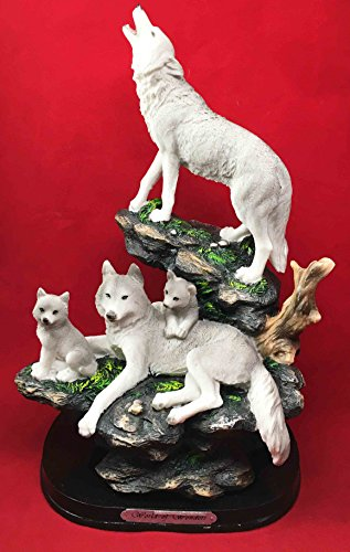 Ebros Full Moon Howling Alpha Wolf Family Pack On Rock Figurine Timberwolves Home Decor Statue Sculpture