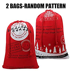 Christmas Sock Bag To Warp Christmas Presents For Kids From Santa Clause Gift Bags Box Christmas Stocking Hold Xmas Present Sack Drawstring Bag With Christmas Design Mady By Canvas(2pack)