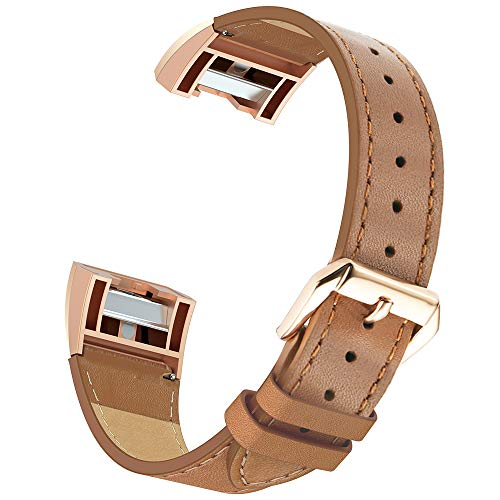 2 Gold Leather - Simpeak Compatible for Fitbit Charge 2 Leather Band, Genuine Leather Replacement Strap Band for Fit bit Charge 2 Wristband Accessories for Fitbit Charge 2 Smart Watch,Brown Band/Rose Gold Adaptor
