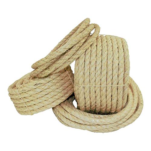 Twisted Sisal Rope (1/4 inch) - SGT KNOTS - All Natural Fibers - Moisture/Weather Resistant - Marine, Decor, Projects, Cat Scratching Post, Tie-Downs, Wicker Chair, Indoor/Outdoor (100 feet) by SGT KNOTS