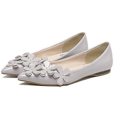 QZUnique Women's Casual Pointed Plain Ballet Comfort Soft Slip On Flats Shoes | Flats