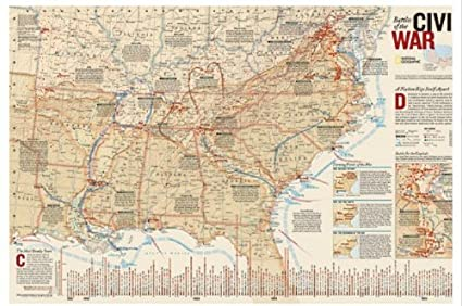 National Geographic RE00620346 Map Of Battles Of The Civil War ... on