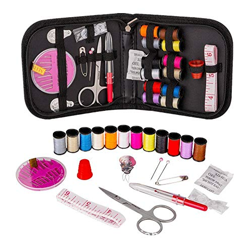 Gudelaa Sewing Kit - DIY Premium Sewing Supplies, Zipper Portable & Mini Sew Kits - Filled with Mending and Sewing Needles, Scissors, Thimble, Thread,Tape Measure etc