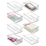 mDesign Stackable Plastic Home Office Storage Organizer Container with Handles for Cabinets, Drawers, Desks, Workspace - BPA Free - for Pens, Pencils, Highlighters, Notebooks - 6' Wide, 8 Pack - Clear