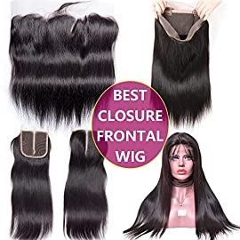 Best 360 Full Lace Frontal Closure Pre Plucked Deals Human Hair Silky Straight Natural Black Color with baby hair 16 inch one piece