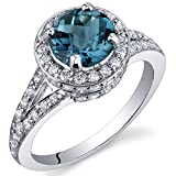 London Blue Topaz Halo Ring Sterling Silver Rhodium Nickel Finish 1.50 Carats Size 8