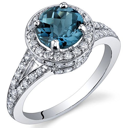 (London Blue Topaz Halo Ring Sterling Silver Rhodium Nickel Finish 1.50 Carats Size 9)