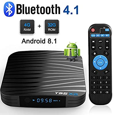 Sidiwen Android 8.1 TV Box T95 X2 4GB RAM 32GB ROM Amlogic S905X2 Quad Core Smart Media Player Support 3D 4K Ultra HD H.265 HEVC Dual Band WiFi 2.4G/5.0G Bluetooth 4.1 Ethernet USB 3.0 Set Top Box