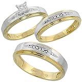 10k Yellow Gold Diamond Engagement Ring Women 0.06 cttw Brilliant Cut 3/16 inch 5mm wide