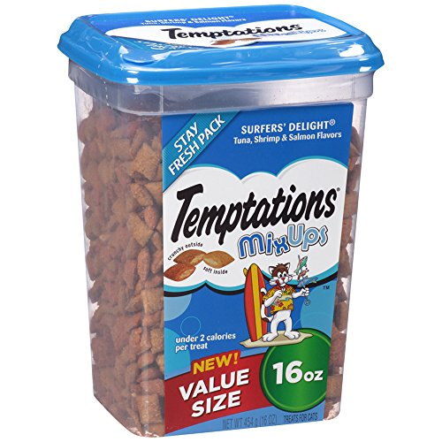 TEMPTATIONS MixUps Treats for Cats SURFER'S DELIGHT Flavor 16 Ounces - With Our Mouthwatering Menu We Have a Flavor For Every Feline