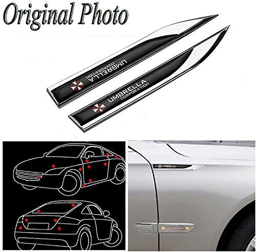 CHAMPLED 2pcs Car Auto Truck Chrome Metal Decal Sticker 3D Emblem Badge for Umbrella Corporation Black Chrome New for Honda Infiniti KIA HYNDAI Dacia Daewoo