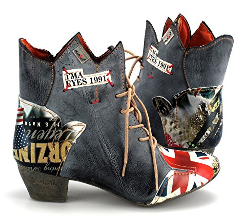 TMA Damenschuhe Echtleder Stiefeletten Boots Stiefel 7707 Schwarz/Grau