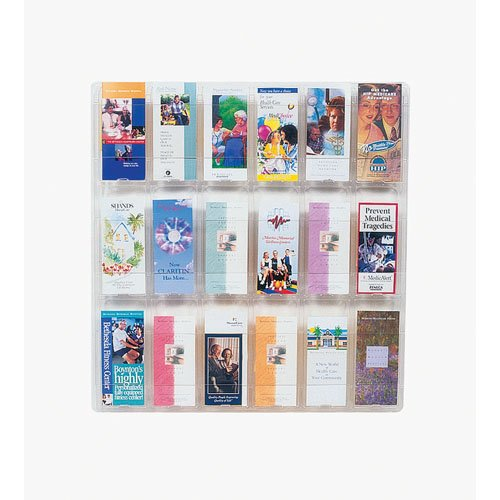 Clear-Ad - CV1800S - Clear Acrylic Wall Mounted Board Organizer with Eighteen 4x9 Trifold Brochure Holder Pockets - Plastic Pamphlet Literature Display Rack (Single Pack) - 18 Pocket Literature Display