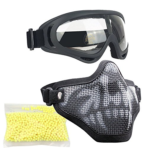 Non Bbs (Airsoft Masks- Adjustable Half Metal Steel Mesh Face Mask And UV400 Goggles Set For Hunting, Paintball, Shooting (Type 3 Black Skull+BBs, 1 Set With 1000PCS BBs))