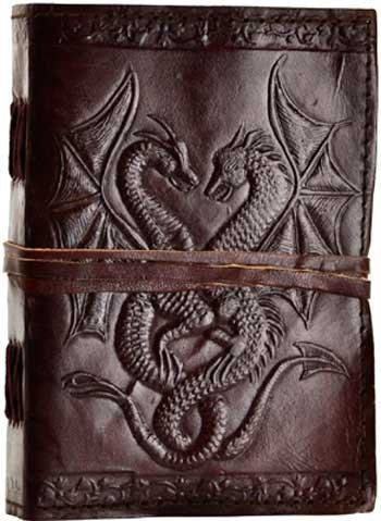 SKH37 Double Dragon Hand Tooled Leather Blank Book