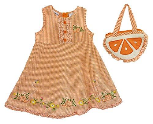 B.T. Kids Baby Girl's 2 Pc Gingham Check Sundress and Purse 4T orange