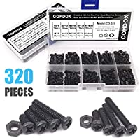Comdox 320-Pack Phillips Cross Washer-Head Machine Screws Nuts Assortment Kit, Carbon Steel, M3 M4 Thread Size, 8mm to 20mm Length, Fully Threaded, Black Oxide Finish from Comdox